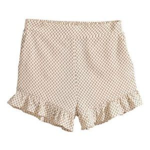 RUFFLE TRIMMED PATTERNED SHORTS